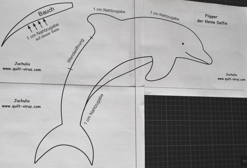 "Kuschelkissen Delfin ""Flipper"" eigenes Schnittmuster – quilt-virus"
