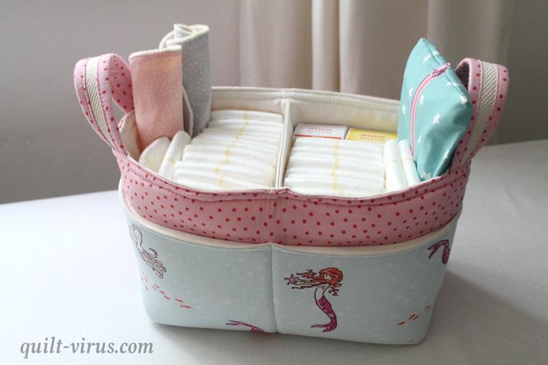 Divided Basket mit Baby-Grundausstattung. – quilt-virus